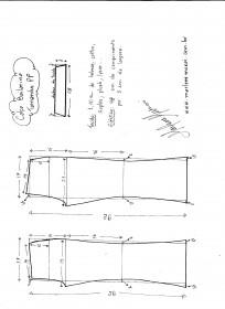 Esquema de modelagem de calça Bailarina tamanho PP.