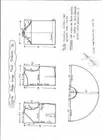 Esquema de modelagem de vestido de manga longa tamanho 36.