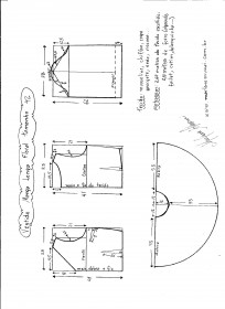 Esquema de modelagem de vestido de manga longa tamanho 42.
