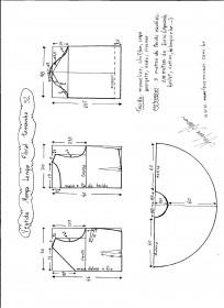 Esquema de modelagem de vestido de manga longa tamanho 52.