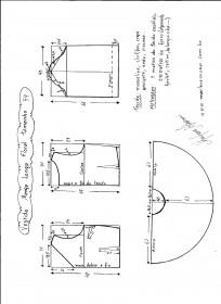 Esquema de modelagem de vestido de manga longa tamanho 54.