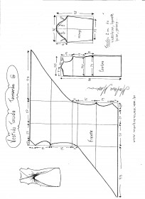 Esquema de modelagem de Vestido Blusa com drapeado Torcido tamanho G.