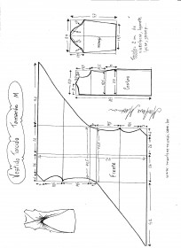 Esquema de modelagem de Vestido Blusa com drapeado Torcido tamanho M.