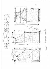 Esquema de modelagem de blusa de malha de manga raglan tamanho PP.