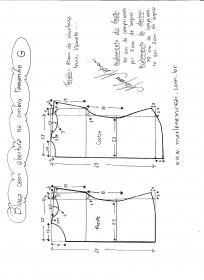 Esquema de modelagem de blusa com abertura no ombro G.