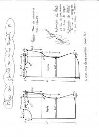 Esquema de modelagem de blusa com abertura no ombro P.