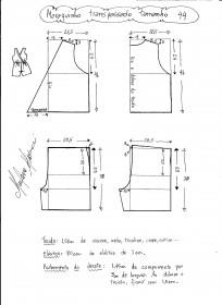 Esquema de modelagem de macaquinho com transpasse tamanho 44.