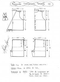 Esquema de modelagem de macaquinho com transpasse tamanho 54.