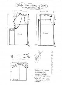 Esquema de modelagem de bata com manga 3/4 tamanho 36.