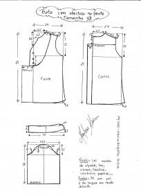 Esquema de modelagem de bata com manga 3/4 tamanho 38.