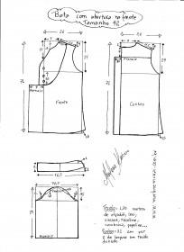 Esquema de modelagem de bata com manga 3/4 tamanho 42.