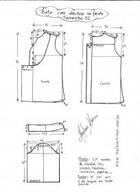 Esquema de modelagem de bata com manga 3/4 tamanho 52.