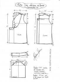 Esquema de modelagem de bata com manga 3/4 tamanho 54.