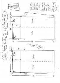 Esquema de modelagem de Calça Pareô, Wrap ou Envelope tamanho 36.