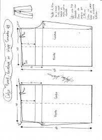 Esquema de modelagem de Calça Pareô, Wrap ou Envelope tamanho 48.