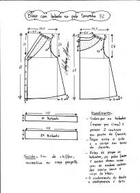 Esquema de modelagem de blusa com pala e babado tamanho 52.