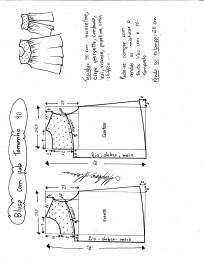 Esquema de modelagem de blusa com pala e renda tamanho 40.