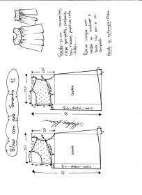 Esquema de modelagem de blusa com pala e renda tamanho 42.