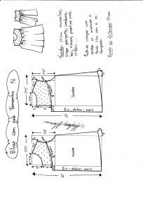 Esquema de modelagem de blusa com pala e renda tamanho 46.