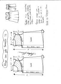 Esquema de modelagem de blusa com pala e renda tamanho 56.