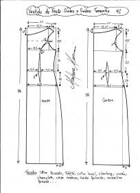 Esquema de modelagem de vestido de festa ombro a ombro tamanho 42.