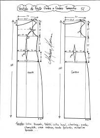 Esquema de modelagem de vestido de festa ombro a ombro tamanho 52.