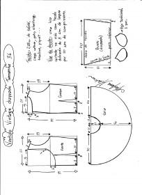Esquema de montagem de vestido de festa vintage tamanho 36.