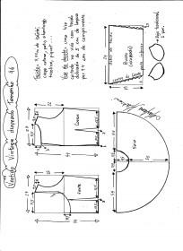 Esquema de montagem de vestido de festa vintage tamanho 46.