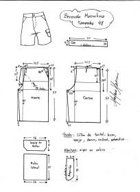 Esquema de modelagem de bermuda masculina tamanho 48.