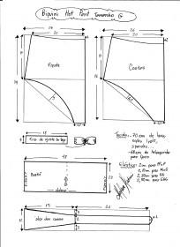 Esquema de modelagem de biquíni hot pant tamanho G.