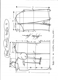Esquema de modelagem de Blazer ou Paletó masculino tamanho 46.