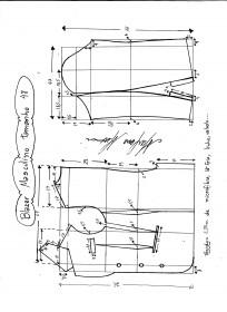 Esquema de modelagem de Blazer ou Paletó masculino tamanho 48.
