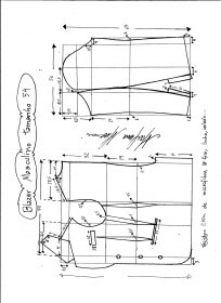Esquema de modelagem de Blazer ou Paletó masculino tamanho 54.