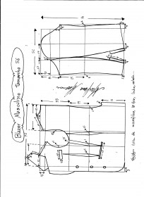 Esquema de modelagem de Blazer ou Paletó masculino tamanho 56.