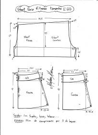 Esquema de modelagem de short saia fitness tamanho EGG.