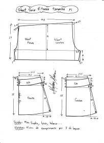 Esquema de modelagem de short saia fitness tamanho M.