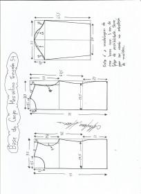 Esquema de modelagem de Base do Corpo Masculino tamanho 54.