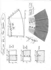 Esquema de modelagem de saia com pala e pregas fêmea tamanho 42.