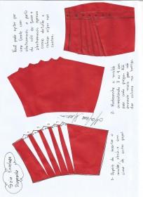 Esquema de montagem do molde drapeado da saia envelope drapeada.