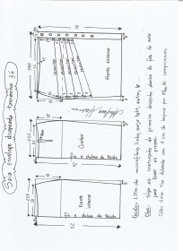 Esquema de modelagem de saia lápis drapeada tamanho 36.