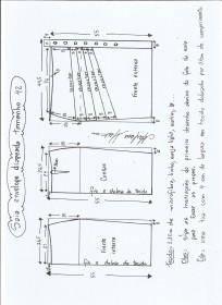 Esquema de modelagem de saia lápis com drapeado tamanho 42.