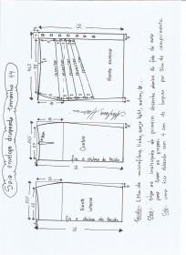 Esquema de modelagem de saia lápis com drapeado tamanho 44.