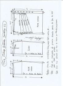 Esquema de modelagem de saia lápis com drapeado tamanho 52.
