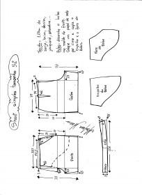 Esquema de modelagem de short simples cós médio tamanho 52.