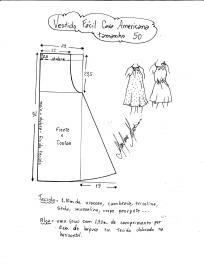 Esquema de modelagem de vestido fácil com cava americana tamanho 50.