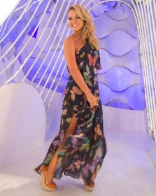 Vestido da apresentadora Eliana de um ombro só com esquema de modelagem do 36 ao 56.