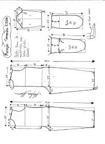 Esquema de modelagem de macacão pijama tamanho EXGG.