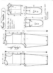 Esquema de modelagem de macacão pijama tamanho P.