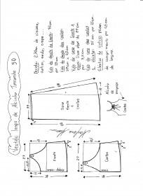 Esquema de modelagem de vestido de alcinha tamanho 50.