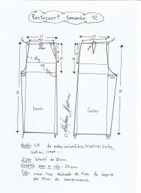Esquema de modelagem de pantacourt tamanho 42.